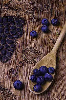 Blueberries With Carvings  Art Print by Garry Gay