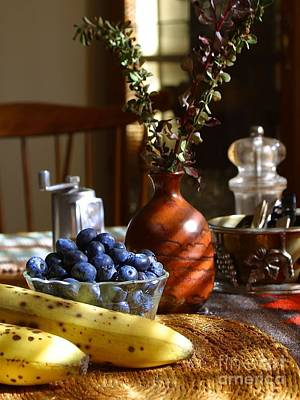 Photograph - Blueberry Bananas Vase Table Setting by R Muirhead Art