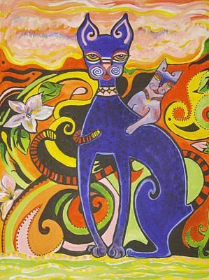 Blueberry Cat Art Print by Elizabeth Bonanza