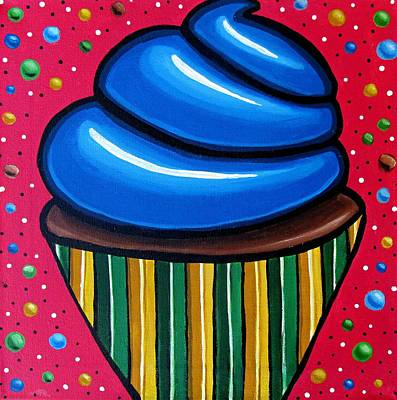 Painting - Blueberry Cupcake - Abstract Painting by Ai P Nilson