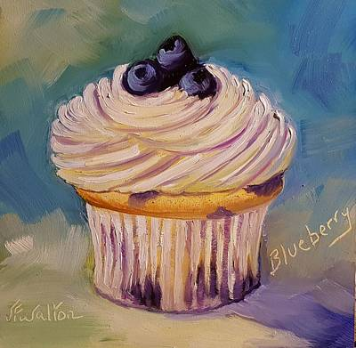 Painting - Blueberry Cupcake by Judy Fischer Walton