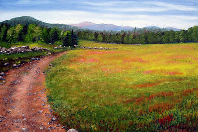 Maine Roads Painting - Blueberry Field 09 by Laura Tasheiko