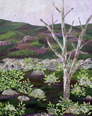 Mixed Media - Blueberry Field And Tree 2 by Janyce Boynton