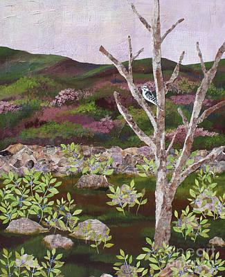 Woodpecker Mixed Media - Blueberry Field And Tree by Janyce Boynton