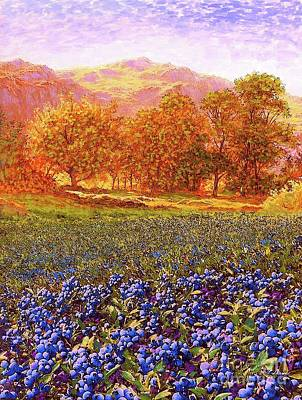 Landmarks Painting Royalty Free Images - Blueberry Fields Royalty-Free Image by Jane Small