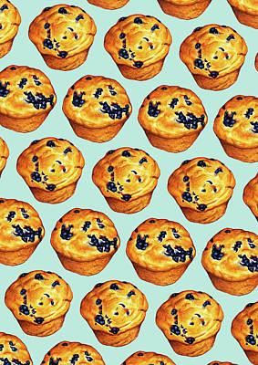 Blueberry Digital Art - Blueberry Muffin Pattern by Kelly Gilleran