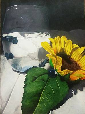 Blueberry Drawing - Blueberry Sunflower by Corina Castillo