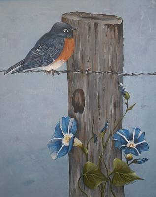Painting - Bluebird And Morning Glories by Betty-Anne McDonald