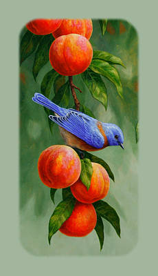 Peach Painting - Bluebird And Peach Tree Iphone Case by Crista Forest