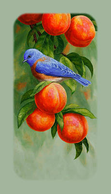 Peach Painting - Bluebird And Peaches Iphone Case by Crista Forest