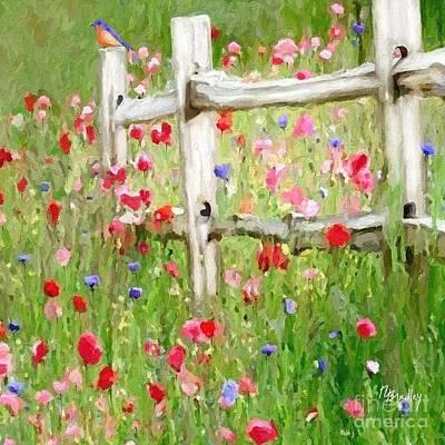 Split Rail Fence Digital Art - Bluebird And Wildflowers by Tammy Lee Bradley