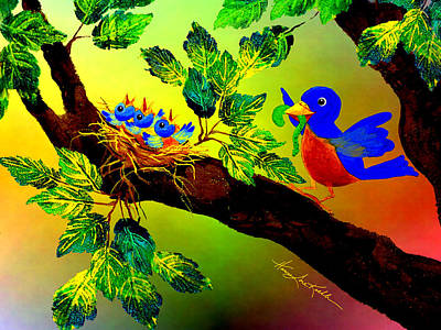 Bluebird Baby Breakfast Original by Hanne Lore Koehler