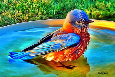 Bluebird Digital Art - Bluebird Bath by Stephen Younts