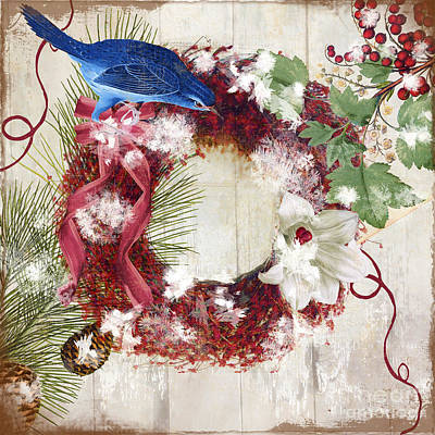 Bluebird Christmas I Print by Mindy Sommers