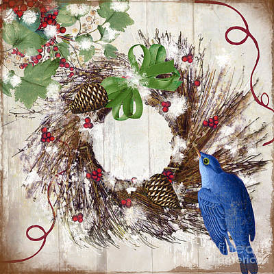 Christmas Wreath Painting - Bluebird Christmas II by Mindy Sommers