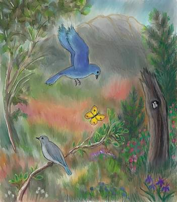 Painting - Bluebird Family In The Draw Teen Pastel by Dawn Senior-Trask