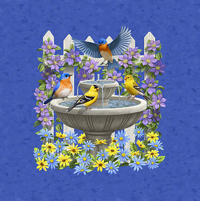 Bluebird Painting - Bluebird Goldfinch Birdbath Garden Royal Blue by Crista Forest