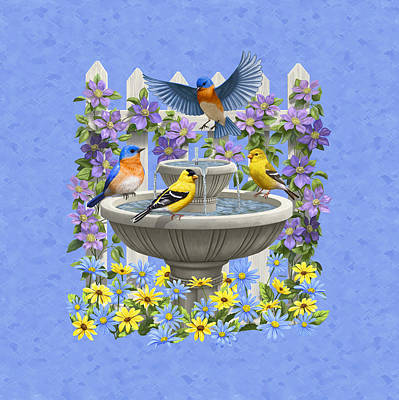 Bluebird Painting - Bluebird Goldfinch Birdbath Garden Light Blue by Crista Forest