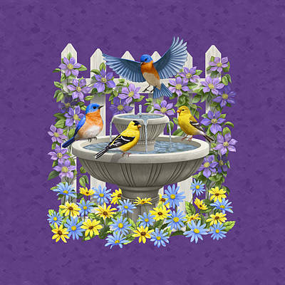 Birds Painting - Bluebird Goldfinch Birdbath Garden Mauve by Crista Forest