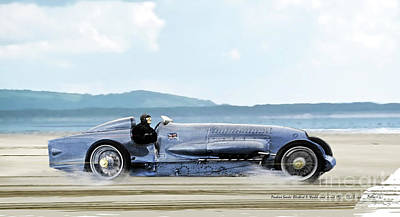 St. Louis Mixed Media - Bluebird II, 1928, World Record Land Speed Record At Pendine Sands, Wales, 178.88 Mph by Thomas Pollart