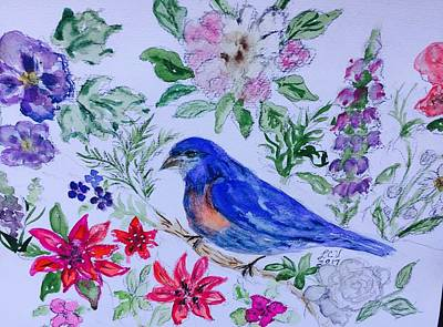 Painting - Bluebird In A Garden by Lucille Valentino