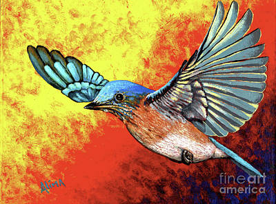 Painting - Bluebird In Flight by Alima Newton