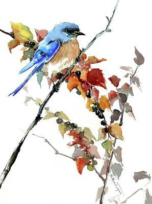 Bluebird In The Fall Art Print