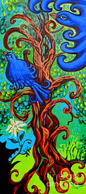 Eco-art Painting - Bluebird In Tree by Genevieve Esson