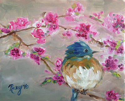 Pink Painting - Bluebird On A Branch by Roxy Rich