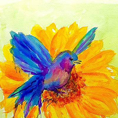 Painting - Bluebird On Sunflower  by Ellen Levinson