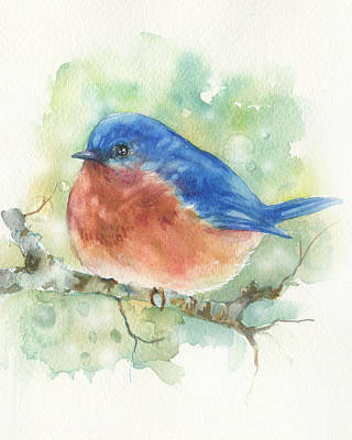 Painting - Bluebird On Twig by Peggy Wilson