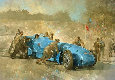 Vintage Cars Painting - Bluebird by Peter Miller