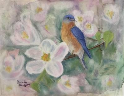 Mixed Media - Bluebird Vignette by Brenda Bonfield