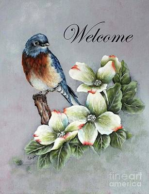 Abstract Airplane Art - Bluebird Welcome Sign by Cindy Treger