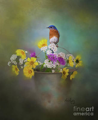 Digital Art - Bluebird With Bucket Of Flowers by Lena Auxier