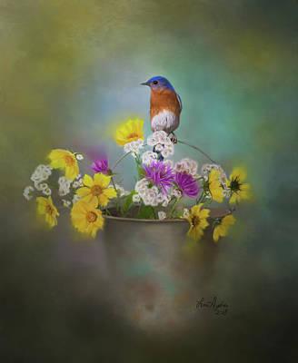 Bluebird Digital Art - Bluebird With Bucket Of Flowers by Lena Auxier