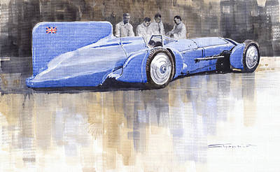 Bluebird Painting - Bluebird World Land Speed Record Car 1931 by Yuriy  Shevchuk