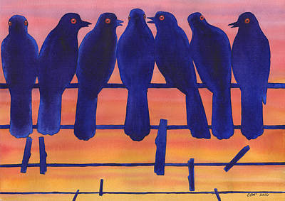 Flock Of Bird Painting - Bluebirds by Catherine G McElroy