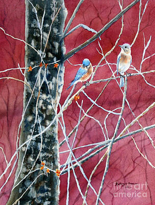 Bluebird Painting - Bluebirds In Early Spring by Kathryn Duncan