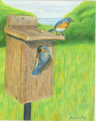 Art Print featuring the painting Bluebirds by Jeanne Kay Juhos