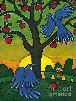Scrub Jay Painting - Bluebirds Of Paradise by Margaryta Yermolayeva