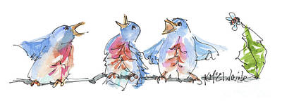 Painting - Bluebirds Singing A New Song Bd002 by Kathleen McElwaine