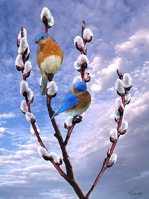 Bluebird Digital Art - Bluebirds Singing A Song by IM Spadecaller