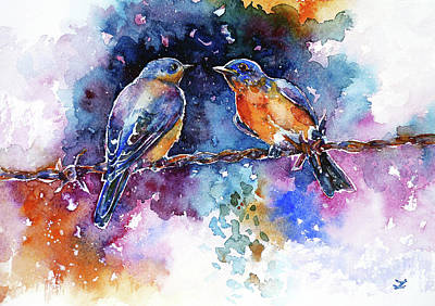 Painting - Bluebirds by Zaira Dzhaubaeva