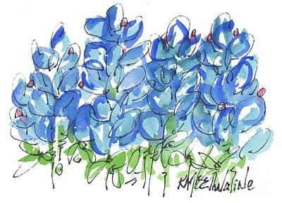 Bluebonnet Dance Watercolor By Kmcelwaine Art Print