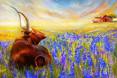 Cow Art Painting - Bluebonnet Dream - Bluebonnet Paintings by Lourry Legarde