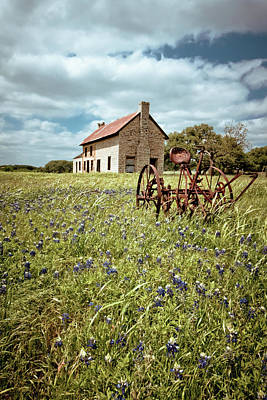 Old Country Roads Photograph - Bluebonnet Fields by Linda Unger