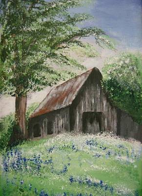 Old Panelled Door Painting - Bluebonnet Hill by Lucretia Glorioso