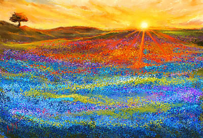 Texas Longhorn Painting - Bluebonnet Horizon - Bluebonnet Field Sunset by Lourry Legarde