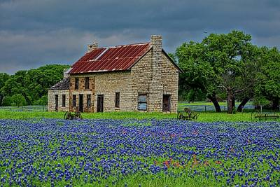 Photograph - Bluebonnet House by John Babis